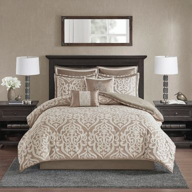 Zaida Tan 8 Pc California King Comforter Set