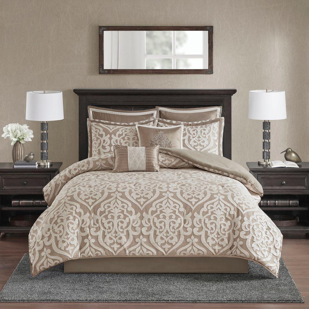 Zaida Tan 8 Pc King Comforter Set
