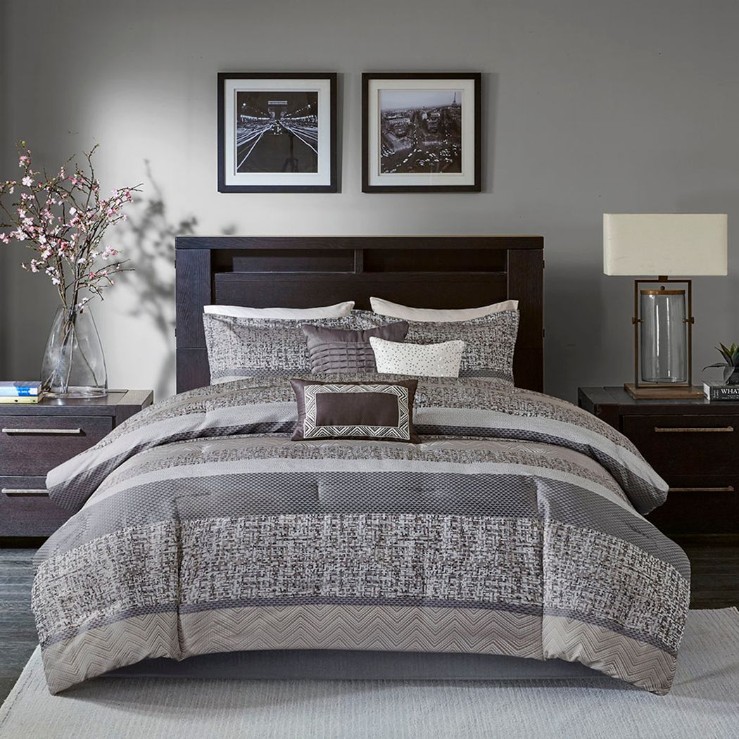 Zair Gray 7 Pc King Comforter Set