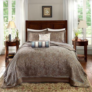 Zandria Blue 5 Pc Queen Bedspread Set