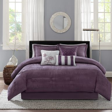 Zanya Plum 7 Pc California King Comforter Set