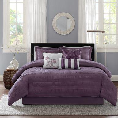 Zanya Plum 7 Pc King Comforter Set