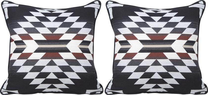 Zapotec Black Indoor/Outdoor Accent Pillow, Set of Two