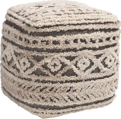 Zoar Heights Beige Pouf