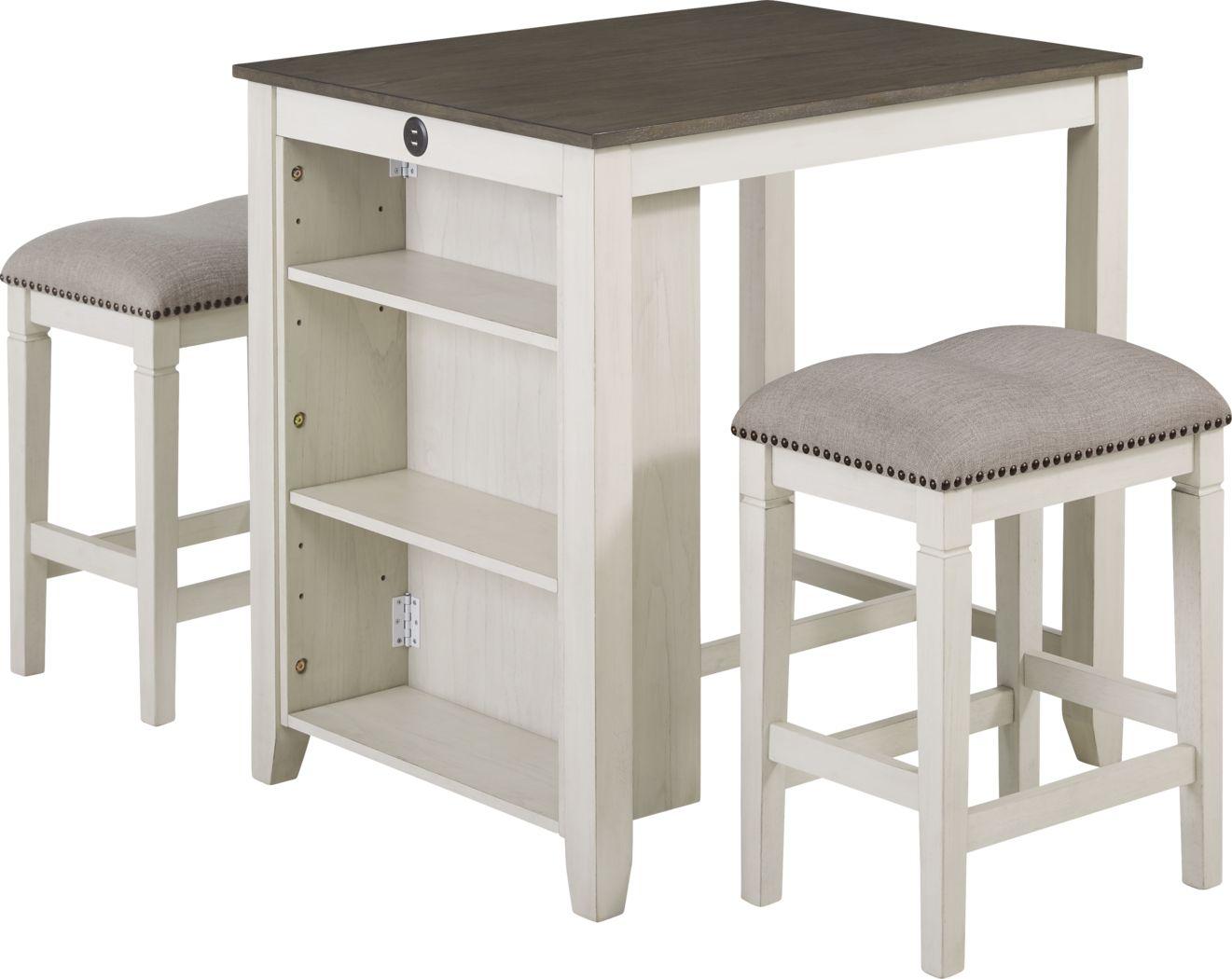 Zorrilla White 3 Pc Counter Height Dining Set